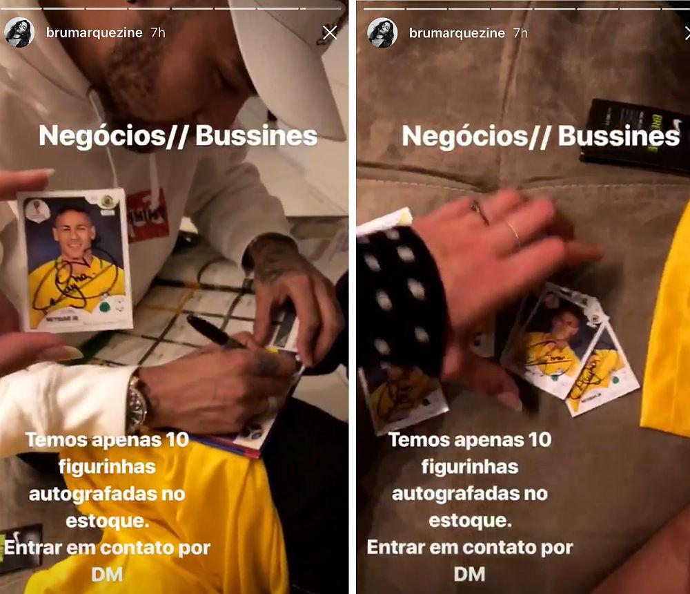 Neymar autografa figurinhas repetidas que Bruna Marquezine recebeu da Panini (Reprodução)