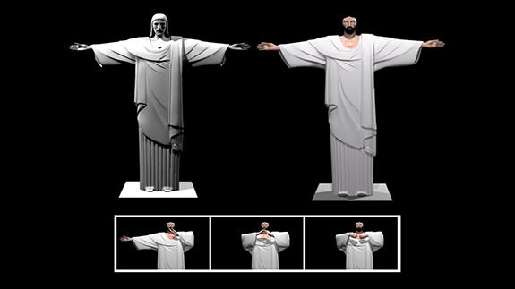 Ilustração da Epson indica técnica de projeção a ser aplicada no Cristo (Divulgação)
