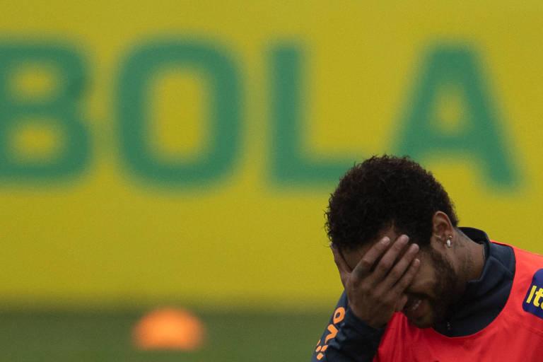 Neymar em treino da seleção em Teresópolis (RJ) (Mauro Pimentel/AFP)