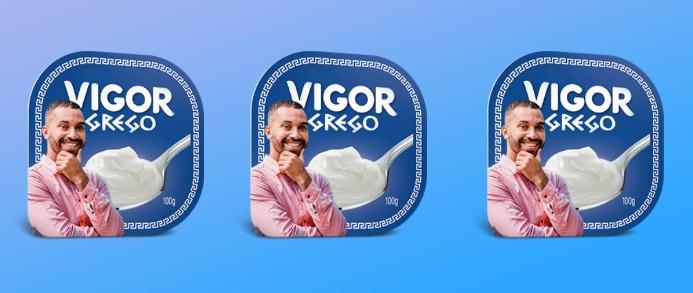 Gil aparece em embalagens do iogurte grego da Vigor para campanha (João Cotta/Globo)