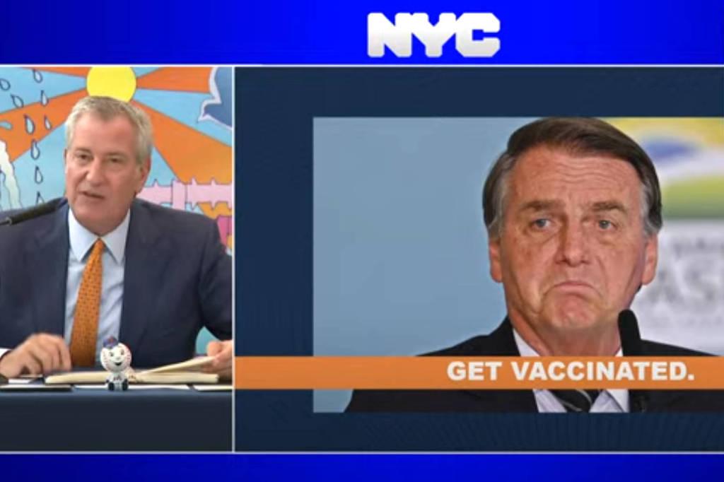 Prefeito de Nova York critica Bolsonaro por não se vacinar - Reprodução/NYC Mayor's Office no Youtube